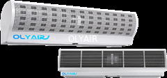 China OlyAir Cyclone cross Flow Air Curtain from 90-200cm length remote control with install hig distributor